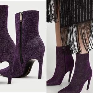 NWT ZARA Pink Purple Glittery Ankle Boot Pumps